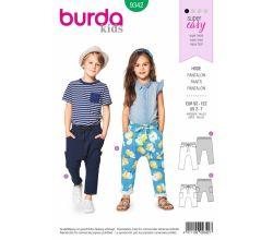 Střih Burda 9342 - Dětské tepláky s nízkým sedem, kalhoty