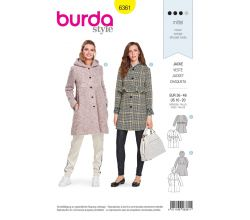 Střih Burda 6361 - Áčkový kabát, kabát s kapucí, kabát bez límce