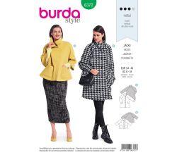 Střih Burda 6372 - Áčkový kabát, kabát s vysokým límcem, krátký kabát