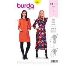 Střih Burda 6381 - Midi šaty, retro šaty 60. léta