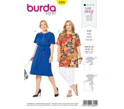 Střih Burda 6305 - Áčkové šaty, tunika pro plnoštíhlé
