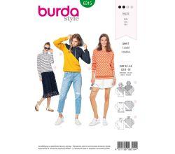 Střih Burda 6315 - Mikina s kapucí, mikina s rolákem