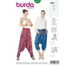 Střih Burda 6316 - Harémové kalhoty, turecké kalhoty