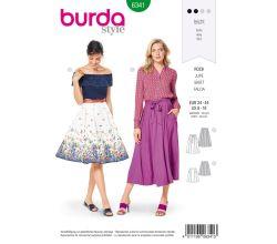 Střih Burda 6341 - Kolová sukně, kruhová sukně, široká sukně, dlouhá sukně