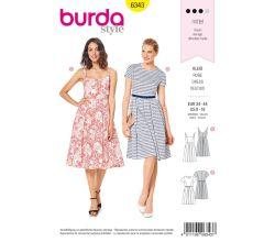 Střih Burda 6343 - Letní šaty, áčkové šaty, šaty s kolovou sukní