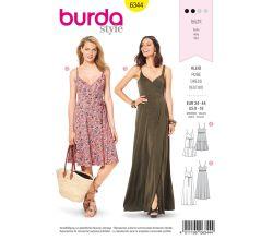 Střih Burda 6344 - Letní šaty na ramínka, dlouhé šaty