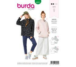 Střih Burda 6253 - Volná mikina s kapucí, mikina s vysokým límcem