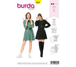 Střih Burda 6264 - žerzejové šaty, mikinové šaty, mini šaty