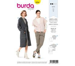 Střih Burda 6294 - Krátké sako, zavinovací kabát s páskem
