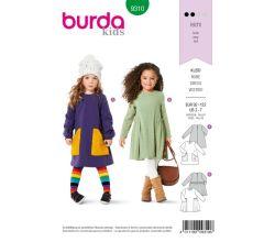 Střih Burda 9310 - Dětské áčkové šaty, mikinové šaty
