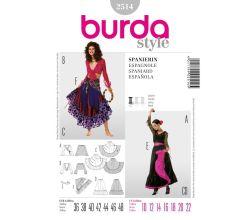 Střih Burda 2514 - Tanečnice flamenca, Carmen, ©panělka, cikánka