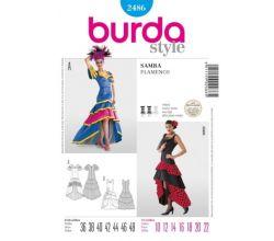 Střih Burda 2486 - Tanečnice, flamenco, samba, ©panělka