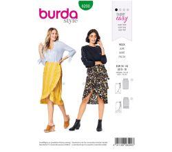 Střih Burda 6200 - Jednoduchá zavinovací sukně