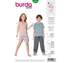 Střih Burda 9288 - Dětské tričko, kalhoty s gumou v pase, šortky