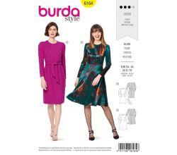 Střih Burda 6164 - Šaty s dlouhým rukávem