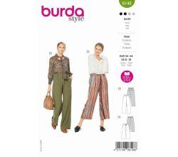Střih Burda 6148 - Volné kalhoty s gumou v pase, lněné kalhoty