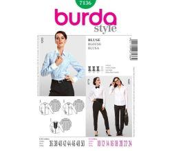 Střih Burda 7136 - Košile, košile s plastronem