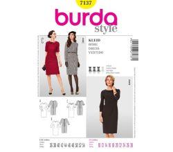 Střih Burda 7137 - Pouzdrové šaty, šaty s límečkem