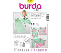 Střih Burda 9479 - Polstrování do postýlky, kapsář, spací pytel, zavinovačka