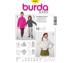 Střih Burda 9482 - Dětská mikina s kapucí, mikina s vysokým límcem, tepláky, legíny