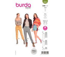 Střih Burda 6054 - Kalhoty s gumou v pase, teplákové kalhoty, šortky