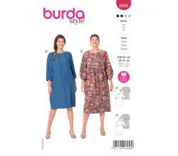 Střih Burda 6058 - Šaty pro plnoštíhlé
