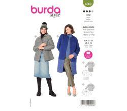 Střih Burda 6069 - Kabát bez límce s barevnými bloky, sako