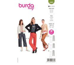 Střih Burda 6085 - Rovné kalhoty s gumou v pase