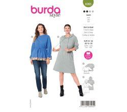 Střih Burda 6095 - Mikinové šaty pro plnoštíhlé, mikina
