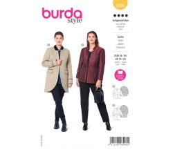 Střih Burda 6096 - Sako peplum pro plnoštíhlé dlouhé sako