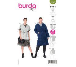 Střih Burda 6097 - Kabát s páskem, vesta s kapucí pro plnoštíhlé