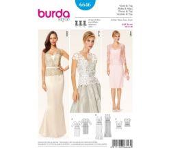 Střih Burda 6646 - Korzetové plesové šaty, koktejlové šaty, krajkový top