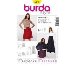 Střih Burda 6980 - Zavinovací kalhotová sukně, culottes