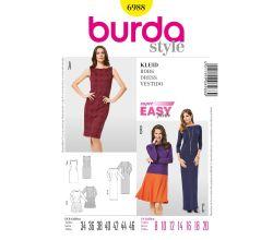 Střih Burda 6988 - Jednoduché rovné šaty, plesové šaty