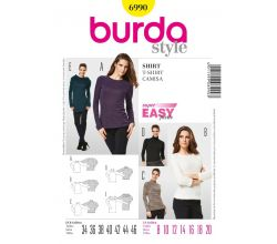 Střih Burda 6990 - Jednoduché tričko, rolák