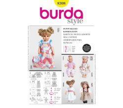 Střih Burda 8308 - Oblečky pro panenky
