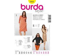 Střih Burda 7031 - Áčkové šaty, krajkové šaty s podšívkou, tričko