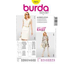 Střih Burda 7075 - Tílko, kabátek, rovná sukně, kalhoty