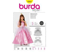 Střih Burda 4364 - Šaty pro princeznu