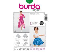 Střih Burda 2518 - RocknRoll, taneční sukně, kolová sukně