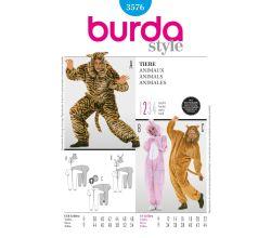 Střih Burda 3576 - Lev, tygr, zajíc