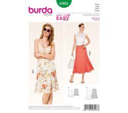 Střih Burda 6903 - Jednoduchá zvonová sukně, dlouhá letní sukně