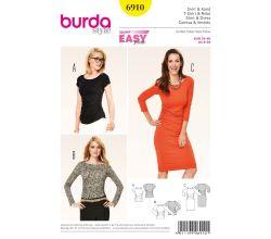 Střih Burda 6910 - Tričko, jednoduché žerzejové šaty