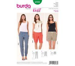 Střih Burda 6938 - Jednoduché kalhoty, bermudy, šortky