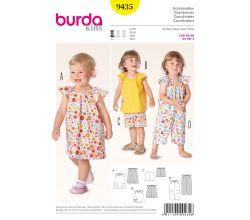 Střih Burda 9435 - Dětské šaty, halenka, kraťasy, overal