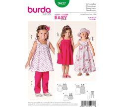 Střih Burda 9437 - Jednoduché dětské šaty, dlouhé letní šaty, kalhoty