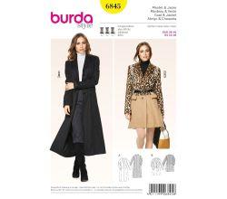 Střih Burda 6845 - Áčkový kabát, dlouhý kabát