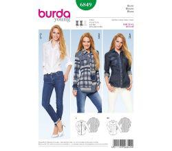 Střih Burda 6849 - Košile, džínová košile