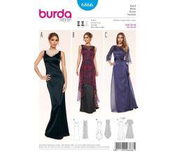 Střih Burda 6866 - Dlouhé plesové šaty