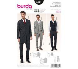 Střih Burda 6871 - Pánský oblek - sako, vesta, kalhoty s puky